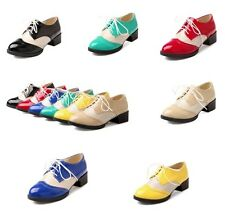 Oxfords Women Lace Up Brogues Wingtip Low Heel Retro 6 Colors Girls Loader Shoes