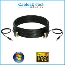 SUPER VGA + Audio 3.5mm Monitor Cable Male 6FT 10FT 30FT 50FT HD15 PIN SVGA LOT