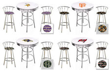"FC133 3 PC SPORTS THEMED WHITE BAR TABLE SET W/ 2 24"" CHROME BAR STOOLS"