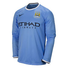 Nike Manchester City Season 2013-2014 LS Home Soccer Jersey Brand New Sky Blue