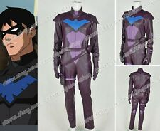 Young Justice Cosplay Nightwing Costume Artificial Leather Jumpsuit Outfit New
