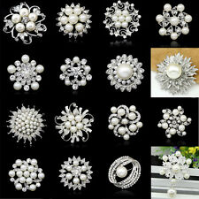 Rhinestone Crystal Wedding Bridal Bouquet Silver Flower Faux Pearl Brooch Pin