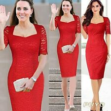 Women Short Sleeve Bodycon Lace Knee Length Paty Red Dress Plus S-XXL SV003809
