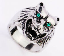 Grinning 316L Stainless Steel Sliver Wolf Head Punk Blue Stone Eye Ring US 8-12