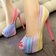 Shallow Mouth High-Heeled Shoes Fish Head Candy-Colored Rainbow Thin Sweet Heels