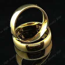 316L Stainless steel Real Gold GP Women Mens Plain Rings for Wedding Engagement