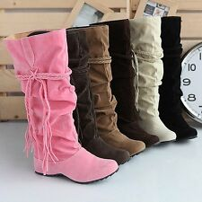 Ladies Fashion Faux Suede Slouchy Boho Fringe Mid Calf Boots Shoes 5 Colors