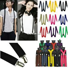 New Unisex Mens Womens Skinny Thin Slim Suspenders Adjustable Clip-on Braces ESY