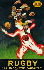 6763.Rugby.La cassette parfaite.man running with hats.POSTER.art wall decor