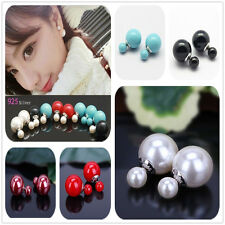 Hot!! 925 Silver Fashion Stud Earrings Double Sided  Faux Pearl Earring Ear Stud