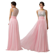 Sheer Rhinestone Long Evening Gown Bridesmaid Prom Formal Party Ball Gowns Dress