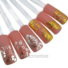 3D FLOWER FRENCH NAIL ART STICKERS GOLD/SILVER HOT STAMPING MANICURE DECALS