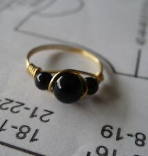 Black Onyx Gold Filled  Wire Rings Sizes  4-13.5     Choose your size