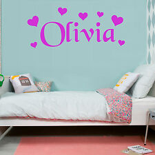 HEARTS Love Girls Bedroom Personalised ANY NAME Vinyl Wall Art Sticker Decal Ft1