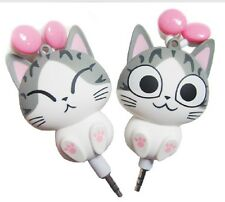 cartoon 3.5mm automatic retractable charm cat ear headphones For phone MP3 Music