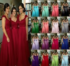 New Stock Chiffon Evening Formal Party Ball Gown Prom Bridesmaid Dress Size 6-20