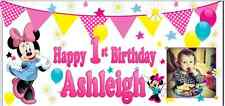 Personalised Minnie Mouse Banner Birthday Party Pink Mickey 1st 2nd 3rd 4th 5th