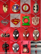 SUPERHERO PENDANT NECKLACE MARVEL DC COMIC SPIDERMAN BOYS BIRTHDAY PRESENT GIFT