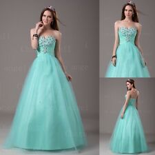 A-Line New Aqua Sweetheart Organza Beaded Long Prom Dresses Engagement Ball Gown