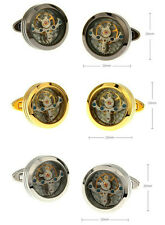 Tourbillon Mechanical Watch Movement Round Cuff Links Mens Shirt Dress Cufflinks