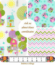 OWLS Baby Owls and Trees  Chevron Flannel Fabric Collection  U Choose