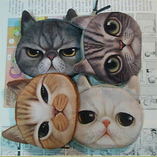 New Children Cute Cat Face Zipper Case Coin Kids Purse Wallet Makeup Bag Pouch
