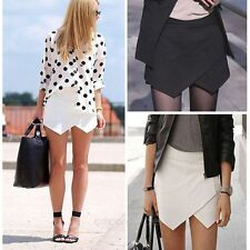 NEW Women Formal Tiered Asymmetric Culottes Wrap Mini skirt Zipper Skirt Short