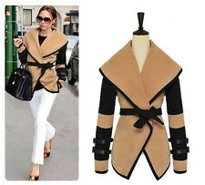 Autumn Winter Women Parka Overcoat Slim Outerwear Belted Coats V Neck Casual Top