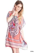 Umgee Anthropologie Boutique Coral Printed Lace Tunic Bohemian Dress  S M L