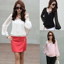 Fashion OL Womens Lantern Sleeve Casual Chiffon Shirt Tops Blouse T-Shirt