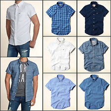 NWT HOLLISTER Men Slim Muscle Fit Button Short Sleeve New By Abercrombie
