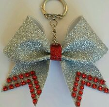 Cheer Bow Key Silver Glitter & Blue, Red, Pink, or Purple Bling