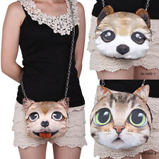 Women Girls Cute Cat Personality Animal Cotton Blend Single Shoulder Bag