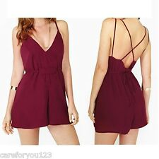 Sexy Ladies Deep V Neck Playsuit Backless Chiffon Hot Red Jumpsuit Short Rompers
