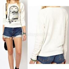 White Women Long Sleeve Casual Pullover Owl Print T-Shirt Top Blouse Hoodies #Cu