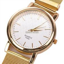 Hot Unisex Elegant Golden Net Dial Quartz Hours Clock Bracelet Wrist Watch EP9