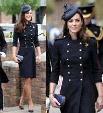 Princess Kate British style Double Breasted wool long Jacket coat trench Uniform