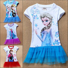 Girls Kids Princess Frozen Queen Elsa Short Sleeve Top T-Shirt Casual 2-8Y Dress