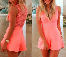Sexy Women Celeb Deep V-neck Lace Playsuit Party Dress Jumpsuit Shorts Hot Pants