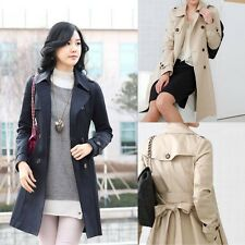Fashion Women's Double Breasted Button Trench Coat Outwear Long Jacket Overcoat