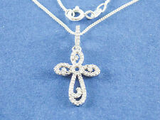 ".22ct Natural Diamond Cross Necklace H-I I2 925 Sterling Silver 16"" 18"" 20"" $650"