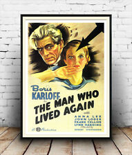 Boris Karloff - The man who lived again.  Vintage poster reproduction.