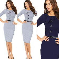 Celebrity Style Ladies Bodycon Business Wear To Work Pencil Cocktail Midi Dress