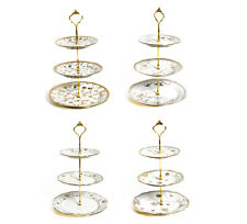 3 Tier Gold Detail Cake Stand Stands Ceramic Vintage Style Party Holder Display