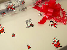 SANTA SNOWMAN CHRISTMAS cellophane gift wrap + PULL BOW(S)  wrapping paper