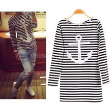 Fashion Women Lady Stripes Round Neck Long Sleeve Casual Tops T-shirt Blouse