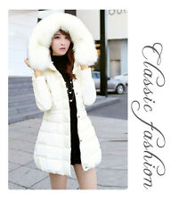 Women New Duck Down Jacket Long Sweet Faux Fur Collar Padded Parka Black Outwear