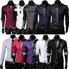 Mens Luxury Casual Dragon Devil Tattoo Slim Fit Dress Long Sleeve Shirts Tops