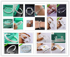 Hot !Wholesale Fashion jewelry 15 style  solid silver bracelet/bangles+gift bag