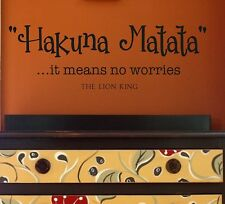 Wall Decals-Hakuna Matata- it means no worries-Vinyl Wall Decal Quotes Lettering